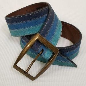 GAP Size 34 M Blue Striped Suede Belt 306